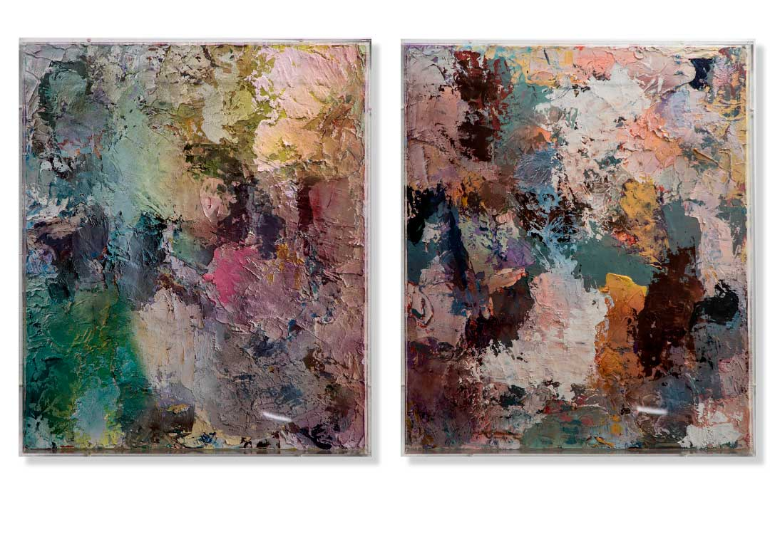 2 x Oil and acrylics on canvas in perspex box - 50x60 cm