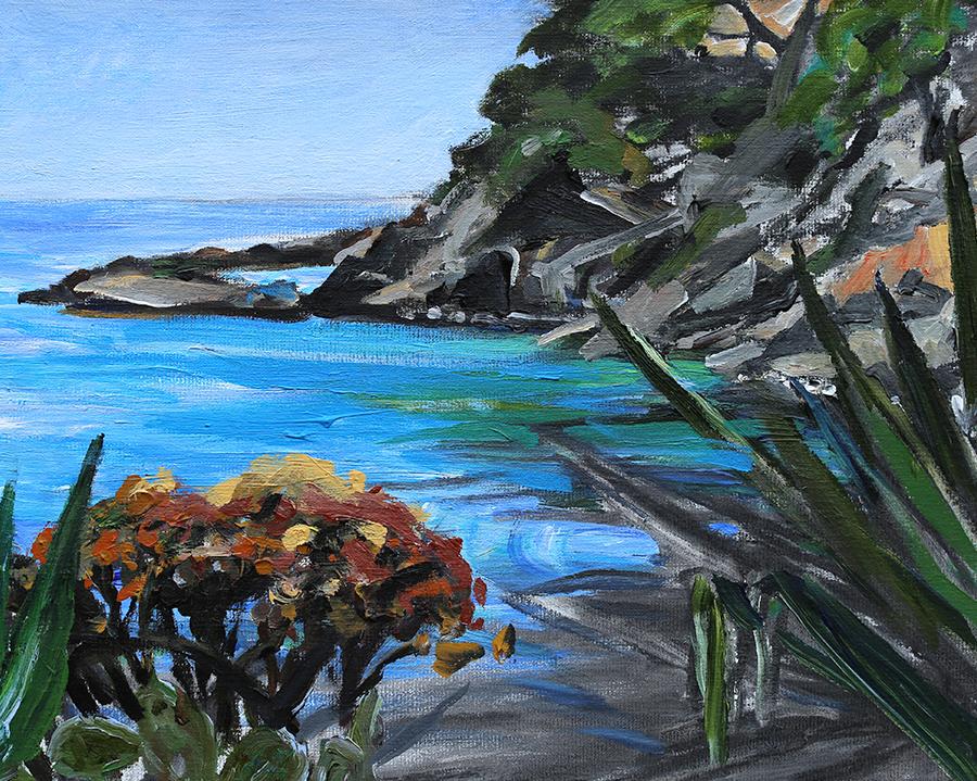 Langs kysten, Mallorca. Akryl på lærred.  40x50 cm.