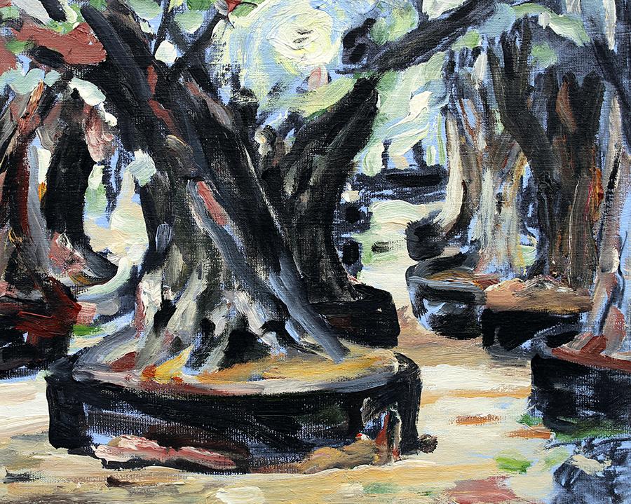 """Oliven i planteskole/""""Kirkegård for oliventræer"""" I, Mallorca. Akryl på lærred. 40x50 cm."""