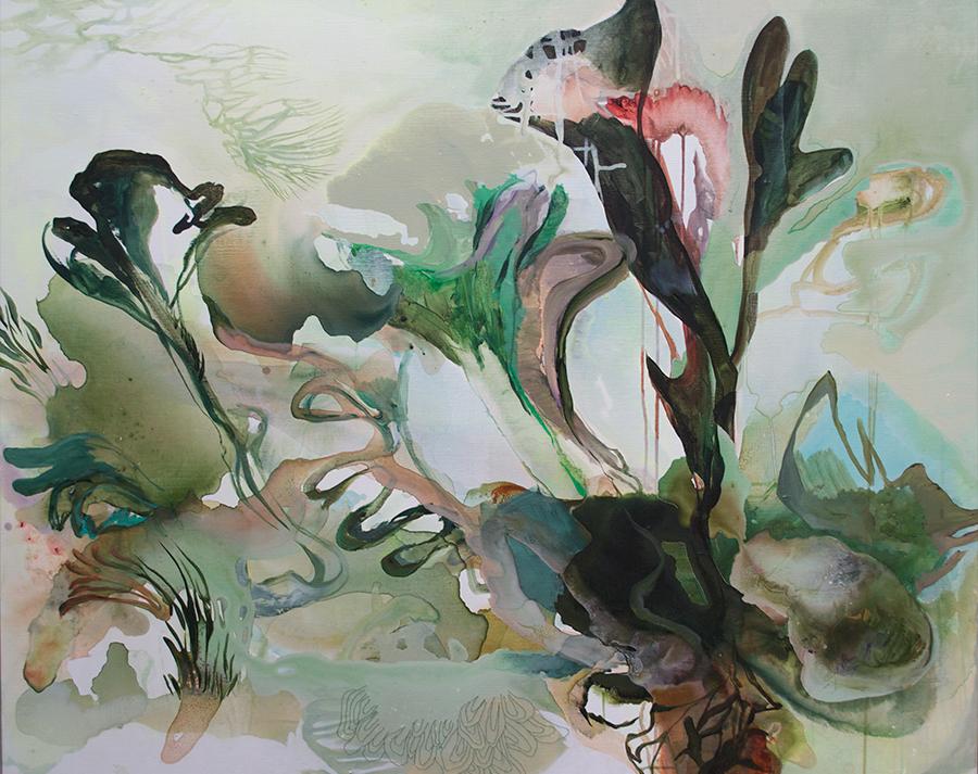 """Meerespflanze"" (105x130) Acryl og syninger på lærred."